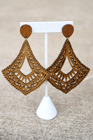 Wood Flilgree Dangles -2 Colors