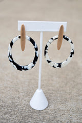 Marble Oval and Bar Earrings -2 Colors