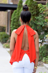 Lace Bow Open Back Top