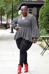 Curvy Stripe Peplum Top