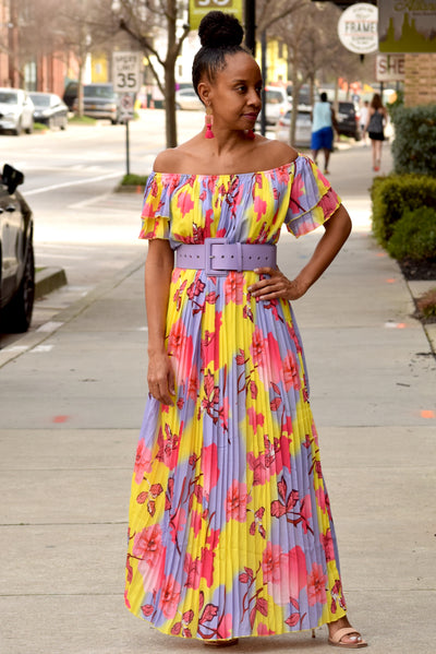 Floral Pleated Off the Shoulder Belted Maxi Dress