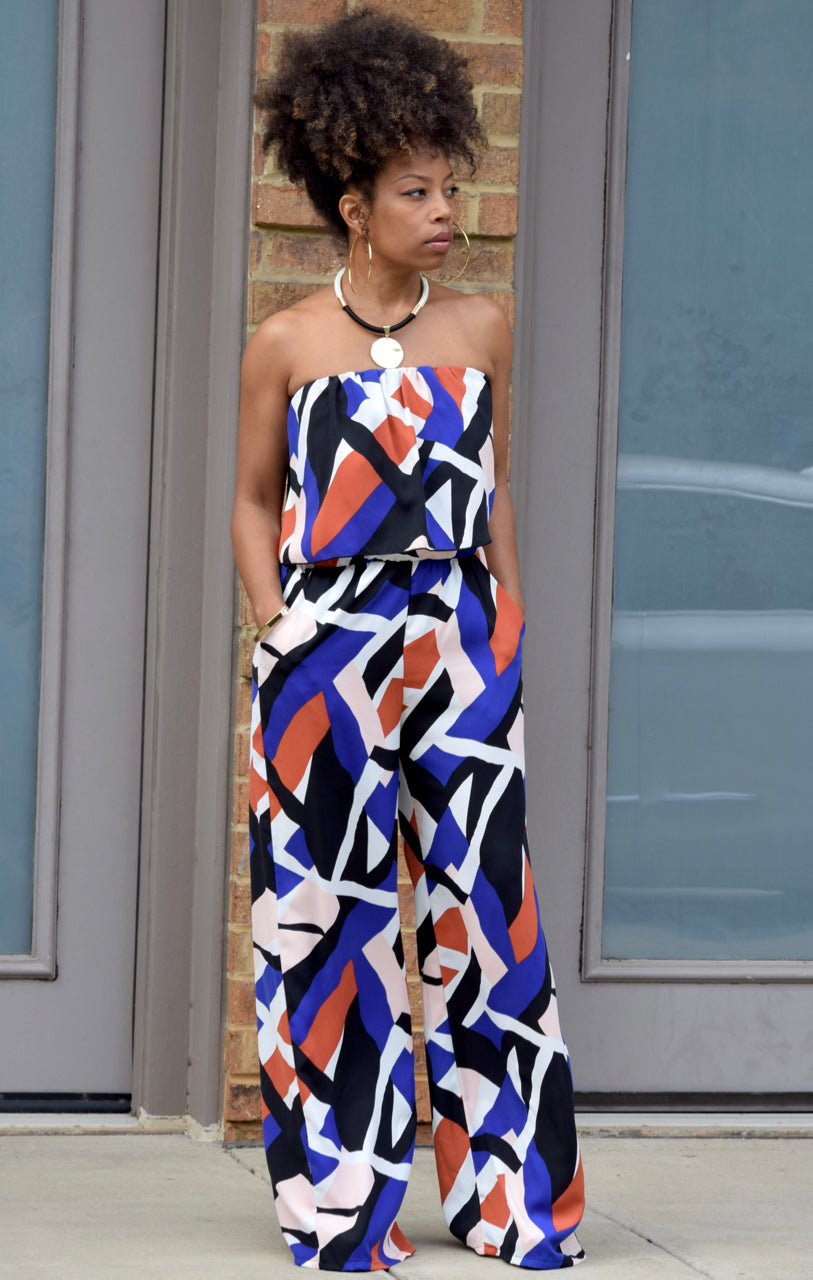 Geometric Strapless Jumpsuit