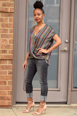 Metallic Stripe Twist Front Top