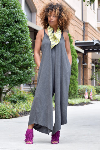 Cropped Palazzo Jumpsuit-Charcoal