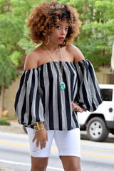 Stripe Off Shoulder Puff Sleeve Top