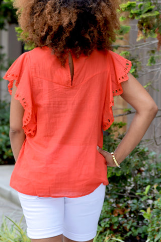 Ruffle Embroidered Top