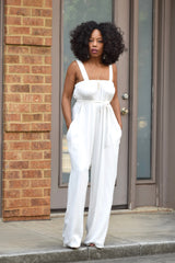 White Flowy Overall Jumper