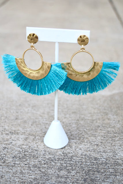 Hammered Fan Tassel Dangles -2 Colors