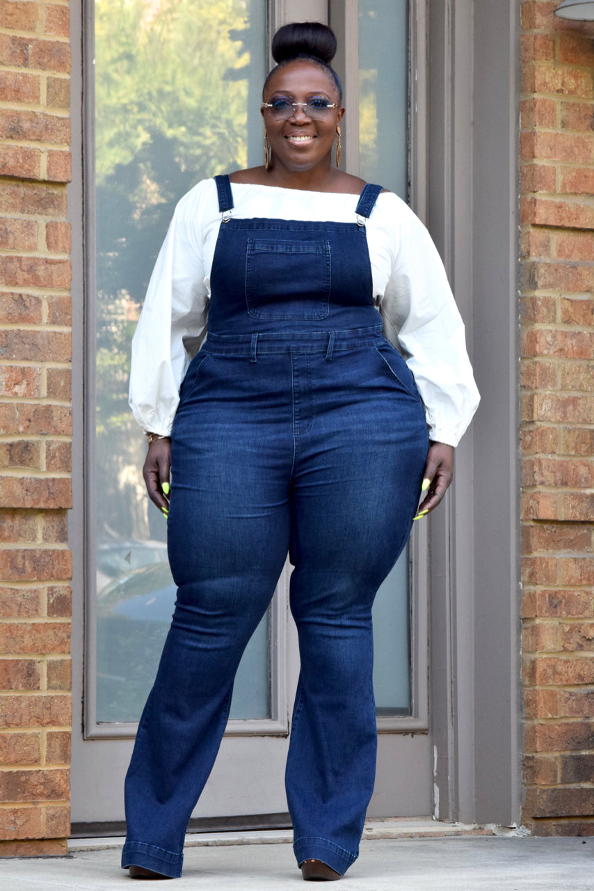 Plus Size Fit and Flare Denim Overalls