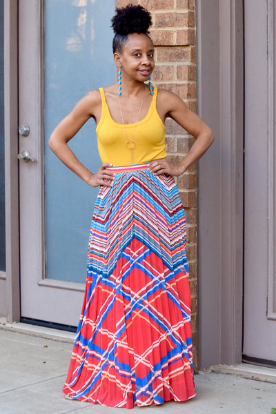 Cross Lines Pleated Maxi Skirt