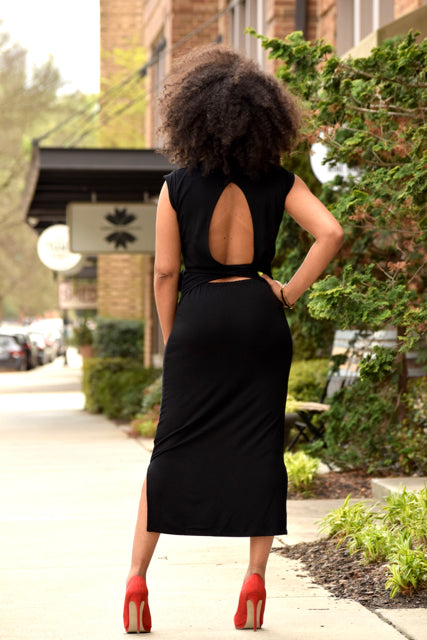 Tie Cut Out Open Back Dress -Black