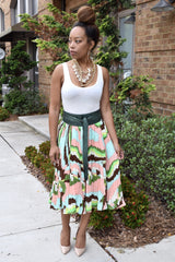Abstract Pleat Skirt