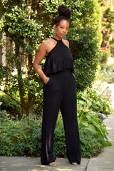 Black Halter Neck Tie Jumpsuit