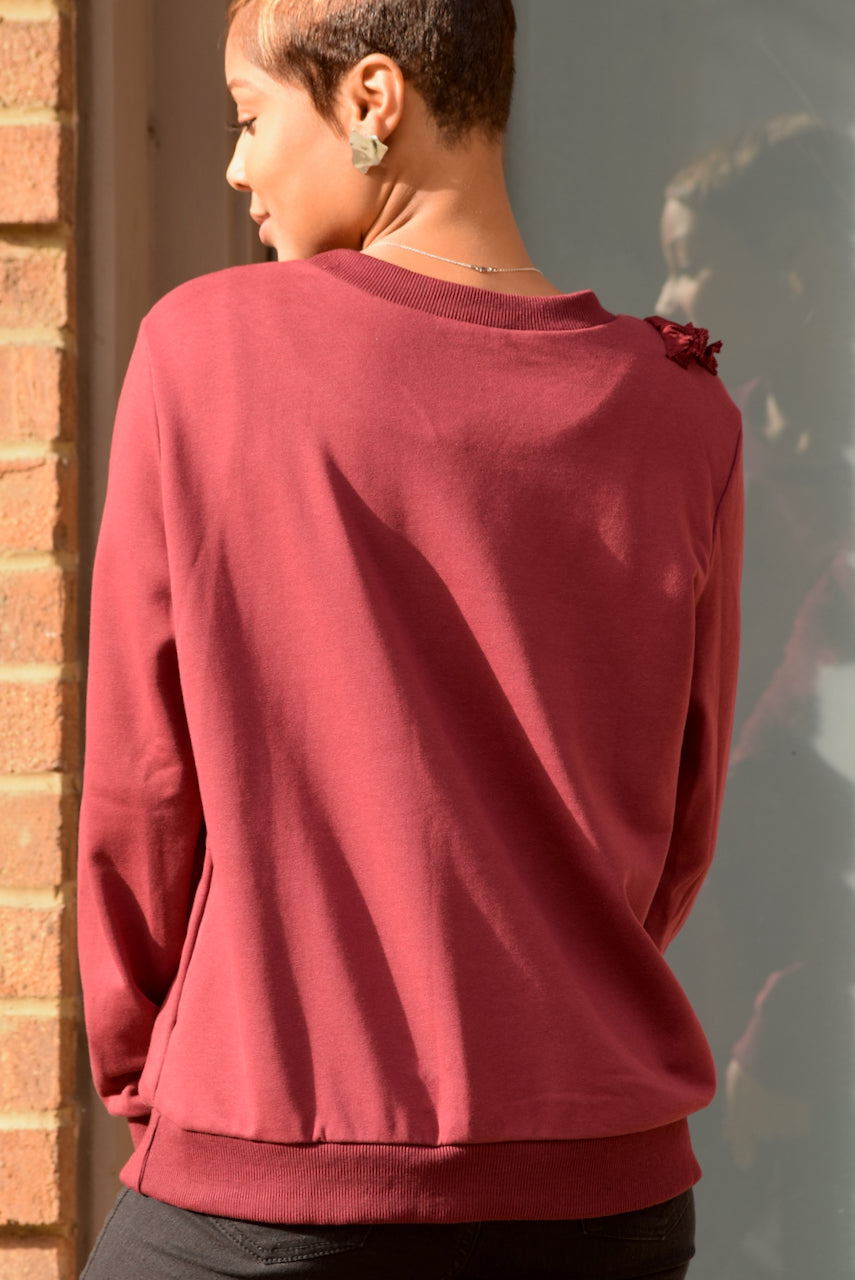 Red Ruffle Sweatshirt