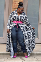 Curvy Plaid Duster Dress