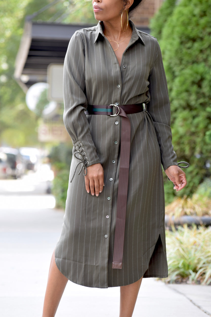 Pinstripe Belted Shirt Dress