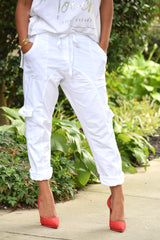 White Drop Crotch Cargo Pants