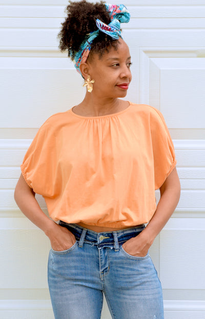 Open Ruched Back Crop Tee