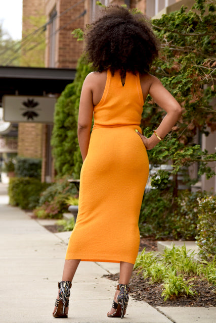 Knit Tie Waist Bodycon -Orange
