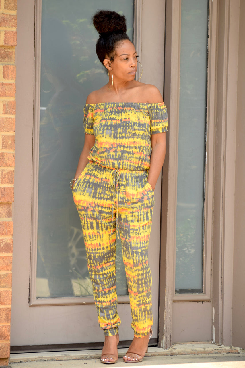 Tie Dye Off Shoulder Jumpsuit