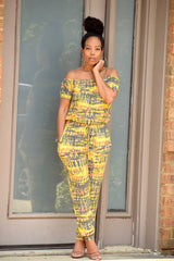 Yellow Tie Dye Off Shoulder Jumpsuit