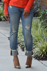 Distressed Cuff Mid Rise Jeans