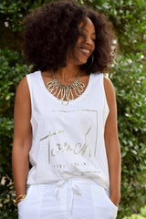 White Touch Your Dreams Oversize Tank