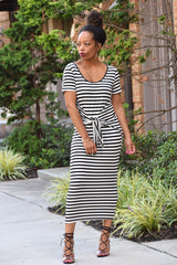 Stripe Tie Front Tee Dress