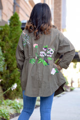 Floral Embroidered Utility Jacket