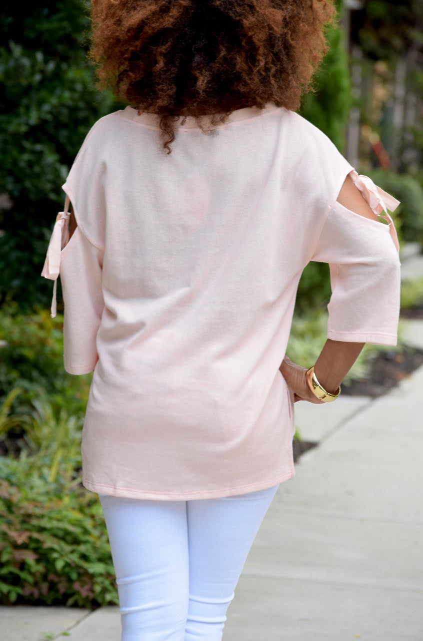Cut Out Tie Sleeve Top