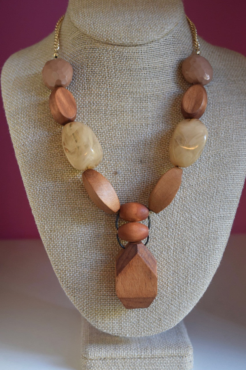 Y-Shaped Wood Bead Necklace