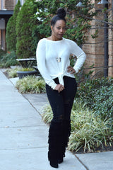 Tie Front Sweater- Ivory