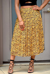 Black and Yellow Tiger Print Pleat Skirt