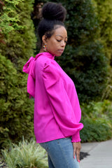 Fuchsia Bishop Sleeve Tie Back Blouse