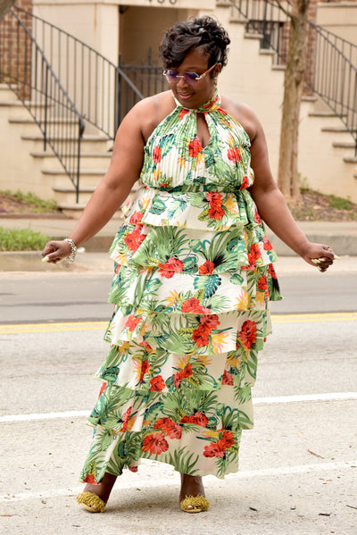 Curvy Tropical Halter Tiered Maxi