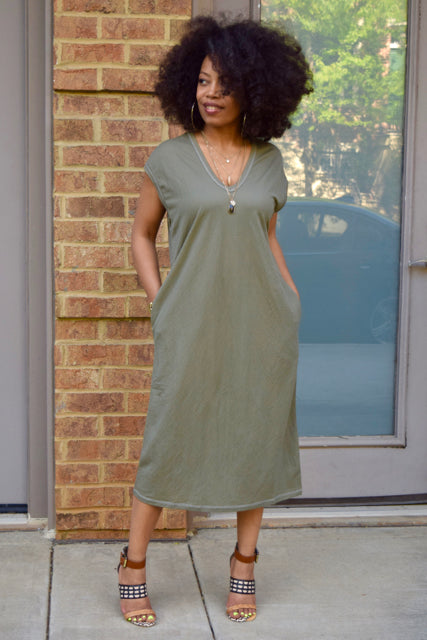 V-neck Pocket Shirt Dress
