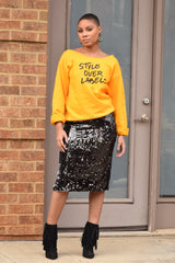 Duo Sequin Pencil Skirt