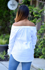 Off Shoulder Button Down