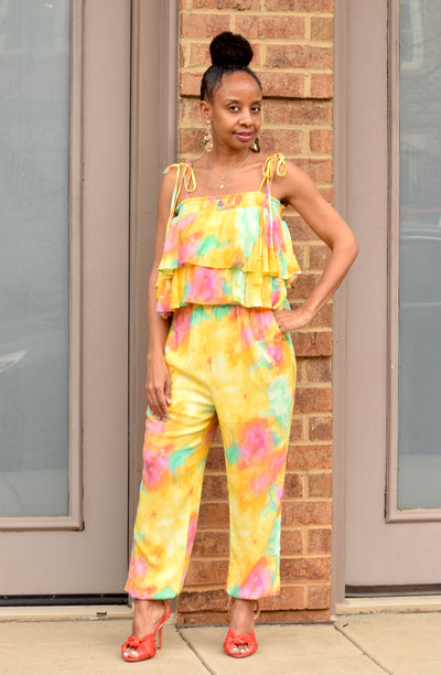 Watercolor Tie Shoulder Ruffle Tiered Jumpsuit