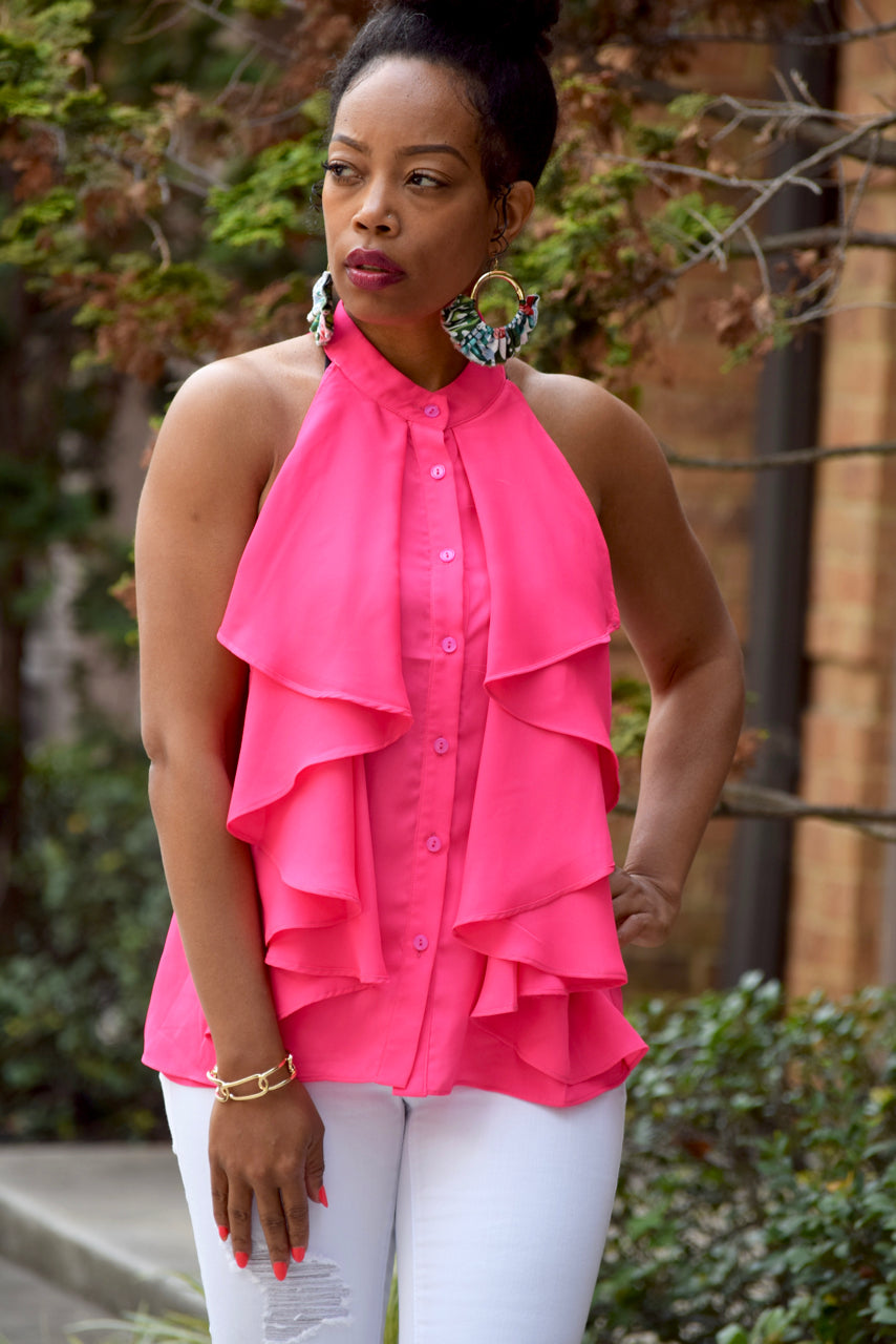 Front Ruffle Halter Blouse