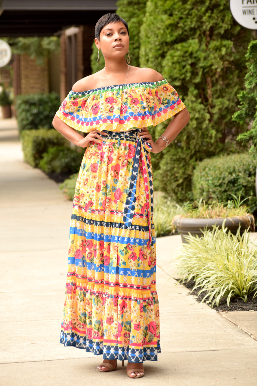 Yellow Floral Off the Shoulder Maxi