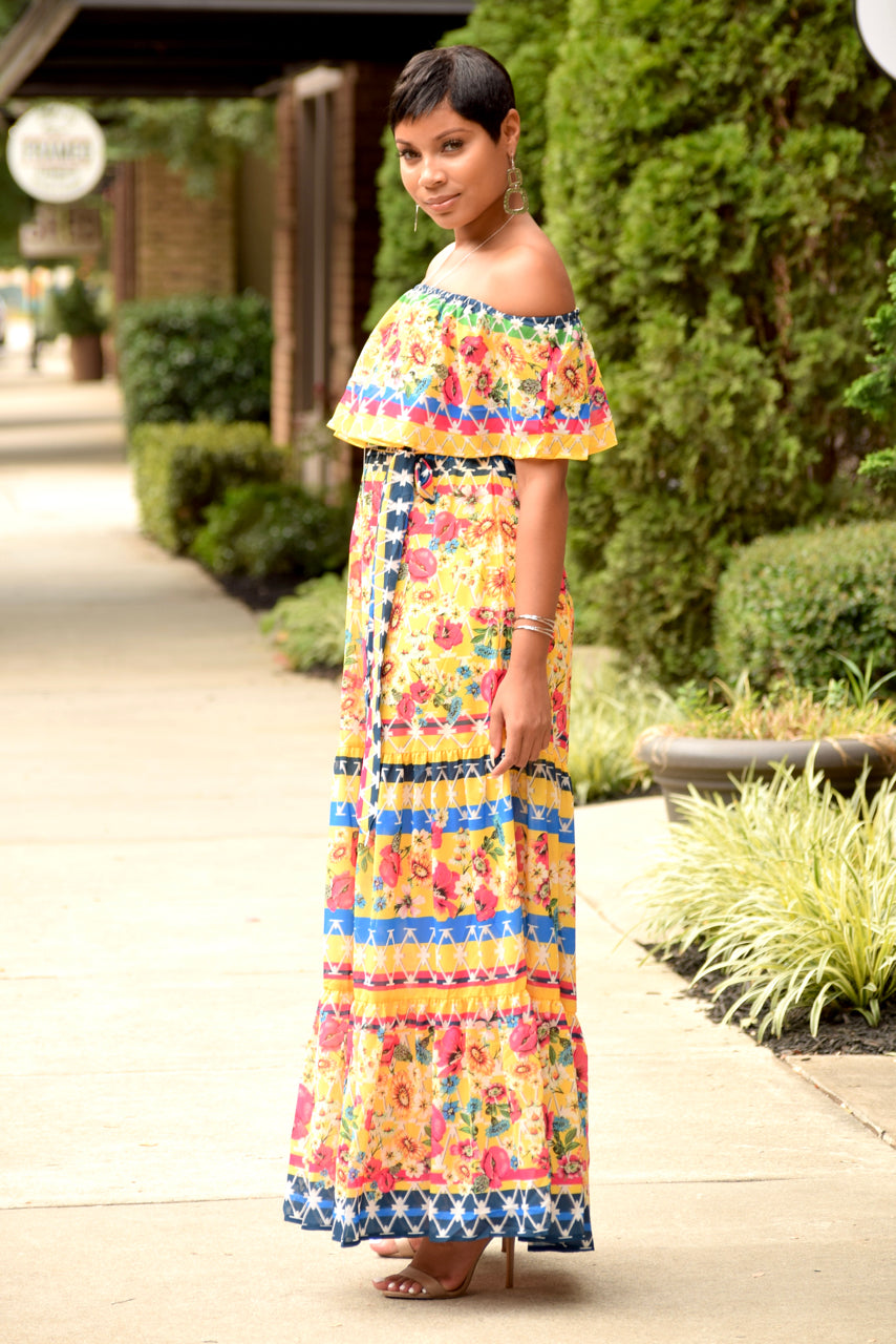 Multi Color Floral Off the Shoulder Maxi