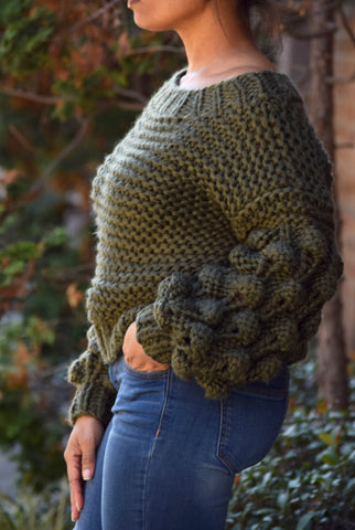 Chunky Ball Sleeve Sweater- Olive