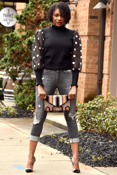 Polka Dot Sheer Puff Sleeve Sweater