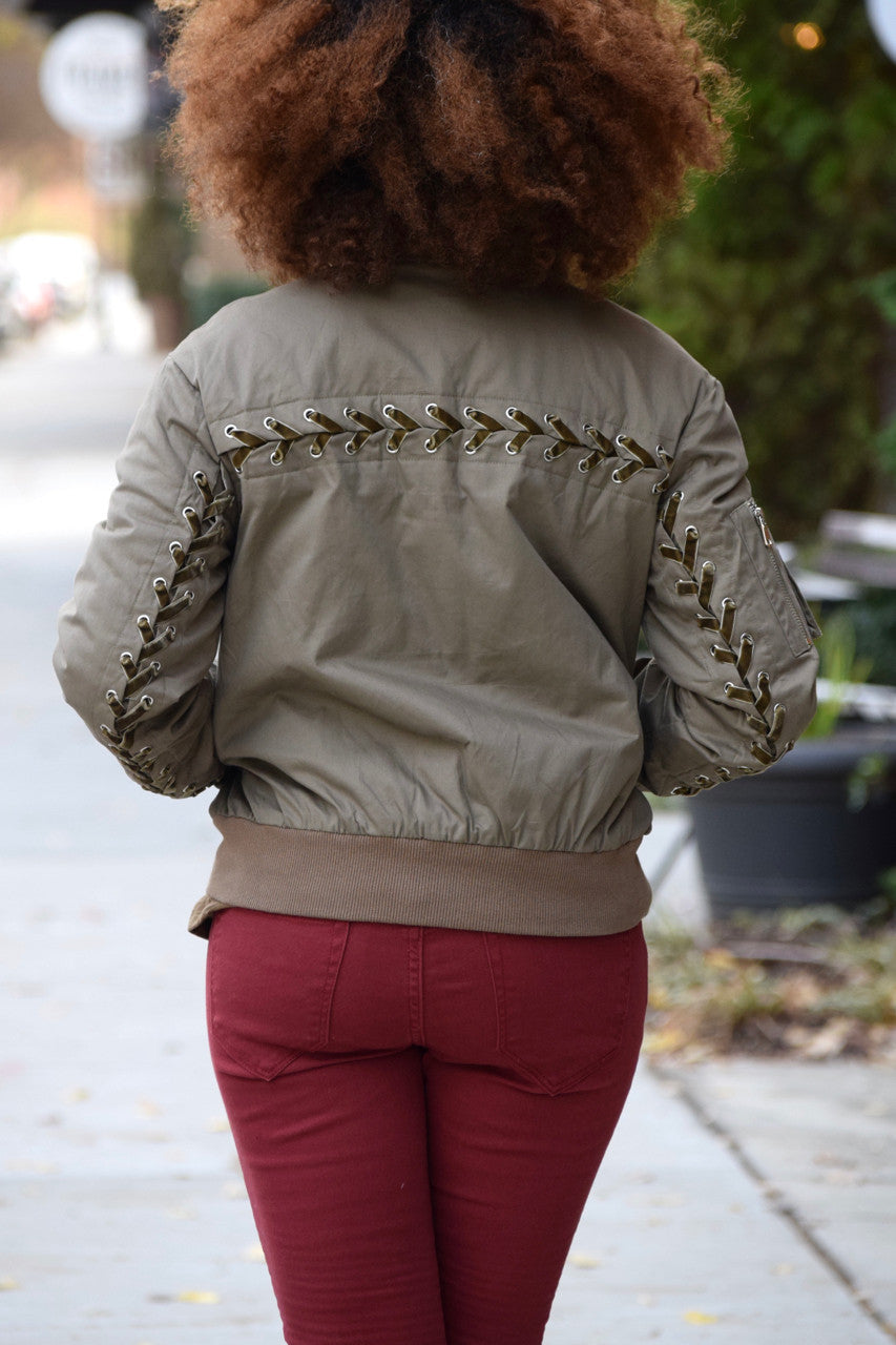 Lace Up Detail Bomber Jacket