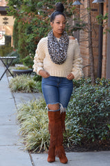 Chunky Ball Sleeve Sweater- Natural
