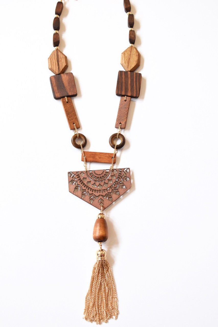 Cut Out Wood Tassel Necklace