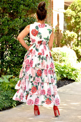 Roses and Ruffles Tiered Midi Dress