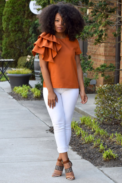 Ruffle Shoulder Shirt