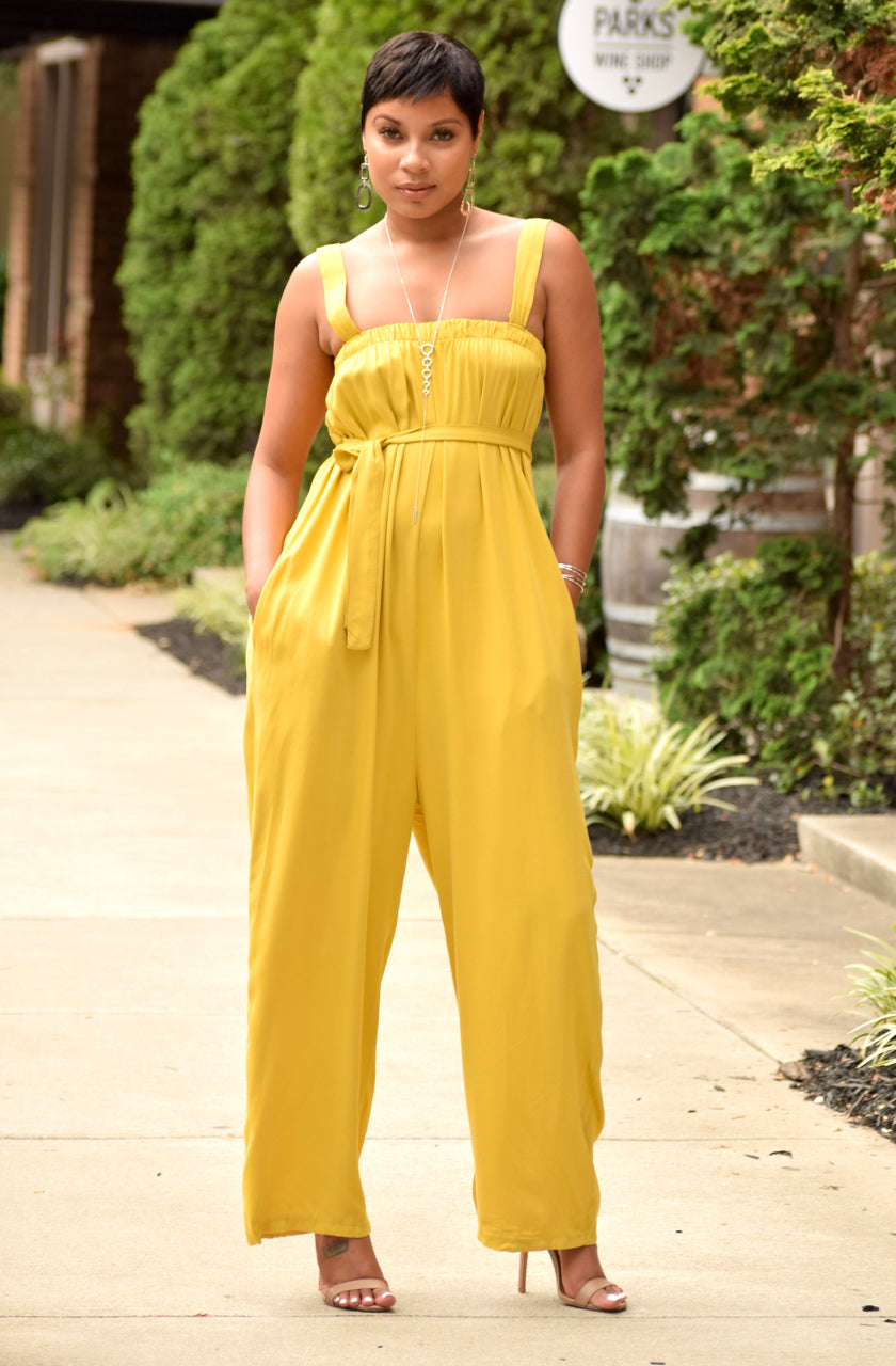 Yellow Flowy Overall Jumper
